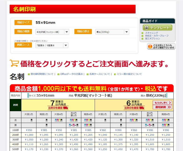 """""""出典:http://www.printpac.co.jp/pricelist/single.php?product=namecard"""""""